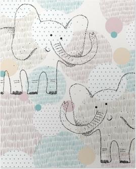 Vektor tegnet sømløs geometrisk mønster med elefant Plakat