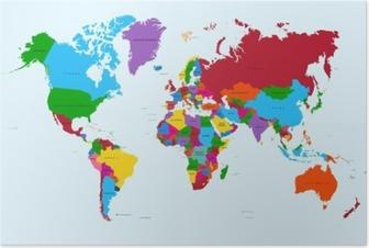 Verdenskort, farverige lande atlas EPS10 vektor fil. Plakat
