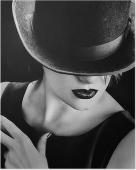 Plakat Vintage kvinne med en lue og sigar