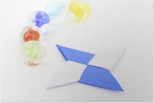 Plakát ビ ー 玉 と 折 り 紙 手裏 剣 - Móda