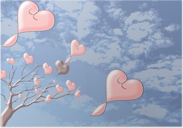 Plakát Красивые блестящие деревья с сердечками на фоне неба - Pozadí
