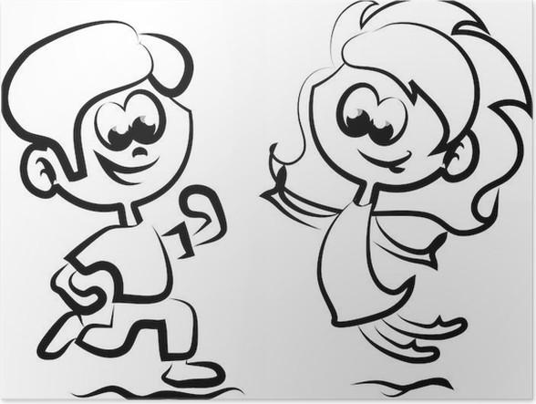 Plakát Симпатичные счастливых детей мультфильм - Děti