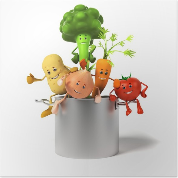Plakát 3d tavené ilustrace hrnec plný zeleniny - Značky a symboly
