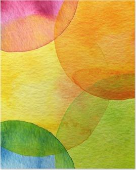Plakat Abstrakcyjna akwarela malowane tła koło