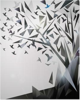 Plakat Abstrakcyjna drzewa z ptaków origami.