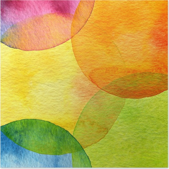 Plakát Abstraktní akvarel kruh malovaná pozadí - Styly