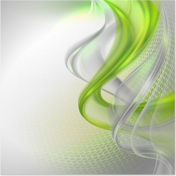 Plakát Abstraktní, šedé pozadí s máváním zeleným prvkem -