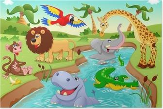Plakat Afrykańskie zwierzęta w dżungli.