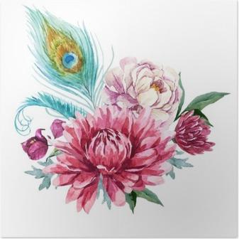 Plakat Akwarela kompozycji kwiatowych