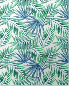 Plakat Akwarela tropikalnych liści bezszwowe wzór