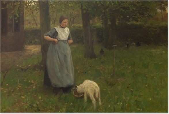 Plakat Anton Mauve - Kobieta z Laren z owcą - Reproductions