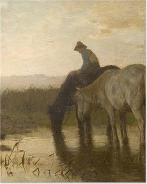 Plakat Anton Mauve - Konie u wodopoju - Reproductions