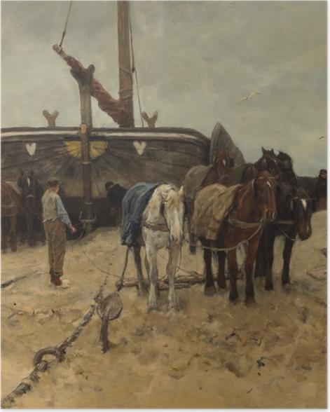 Plakat Anton Mauve - Łódź rybacka na plaży - Reproductions