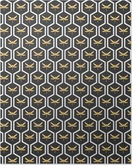 Plakát Art Deco bezešvé vinobraní tapety vzory vektor.