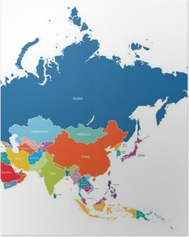 Plakat Asia map