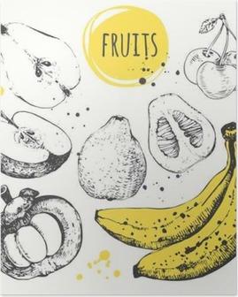 Plakat Banan, mangostan, jabłko, bergamotka. Ręcznie rysowane zestaw ze świeżą żywnością.
