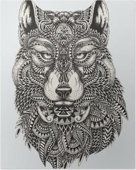 Plakat Bardzo szczegółowe streszczenie ilustracji wilka