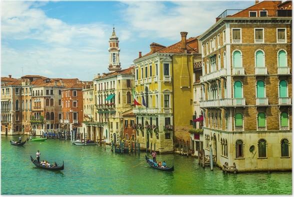 Plakát Benátky Canal Grande s gondolami od mostu Rialto, Itálie - Evropa
