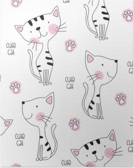 Plakát Bezešvé roztomilé kočka vzor vektorové ilustrace