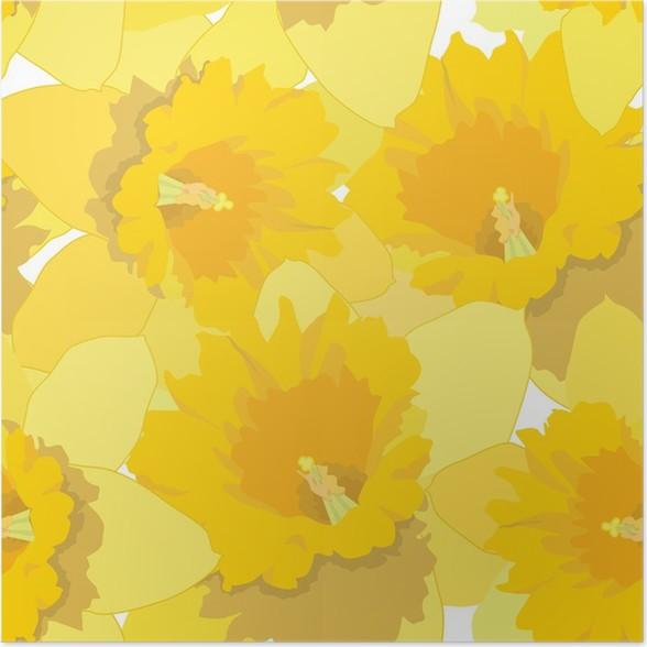 Plakát Bezešvé vzor s květinami narcisy - Pozadí