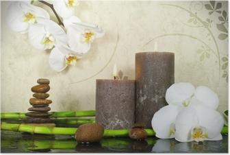 Plakat Biała orchidea z bambusa i świec i kamienie