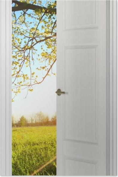 Plakat Białe drzwi - Drzewo -