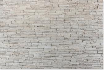 Plakat Białe płytki kamienne ściany tekstury cegły