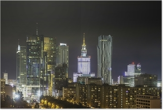 Plakat Biznesowej dzielnicy Warszawy nocą