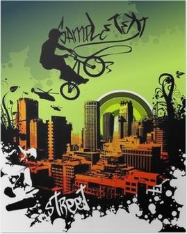 Plakat Bmx w niebo nad miastem