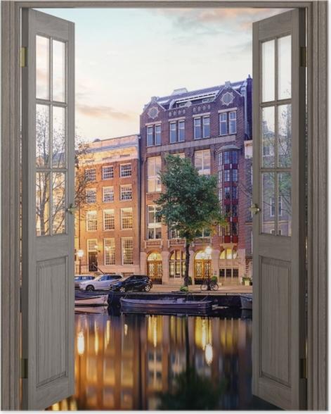 Plakat Brązowe drzwi - Amsterdam. Holandia. -