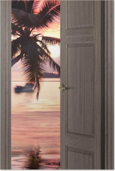 Plakat Brązowe drzwi - morze -