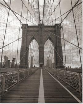 Plakat Brooklyn Bridge w Nowym Jorku. sepię.
