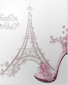 Plakat Buty na wysokim obcasie na tle wieży Eiffla. Paris Fashion