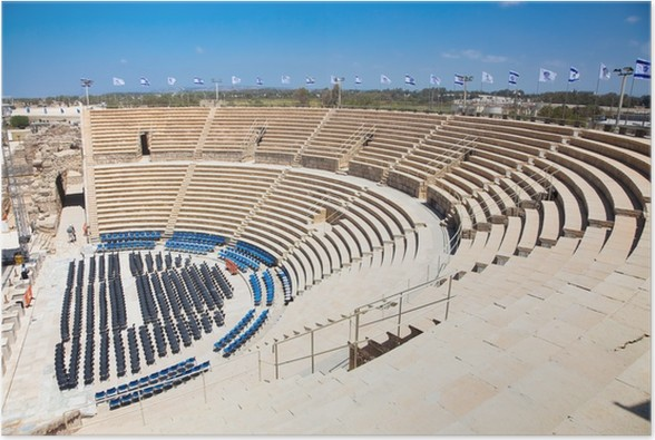 Plakát Caesarea Theatre. Izrael. - Střední Východ