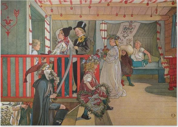 Plakat Carl Larsson - Imieniny w szopie - Reproductions