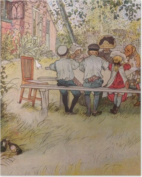 Plakat Carl Larsson - Śniadanie pod wielką brzozą - Reproductions