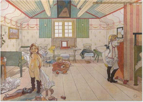 Plakat Carl Larsson - Sypialnia mamy i dziewczynek - Reproductions