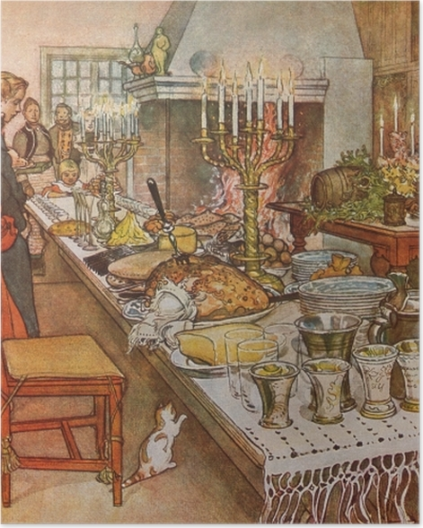 Plakat Carl Larsson - Wieczór wigilijny - Reproductions