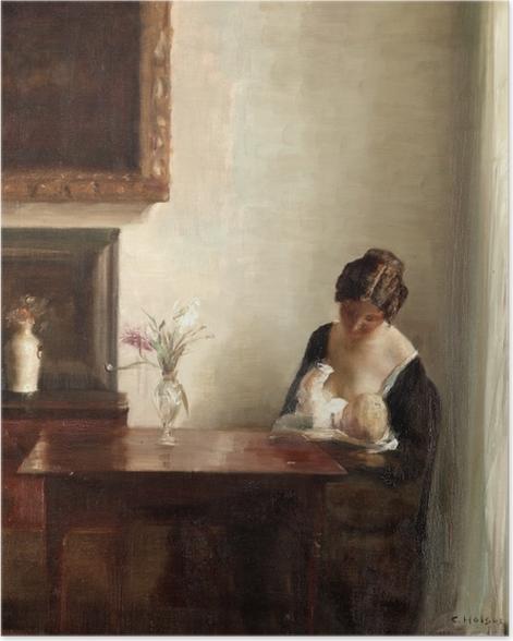 Plakat Carl Vilhelm Holsøe - Wnętrze z kobietą i dzieckiem - Reproductions