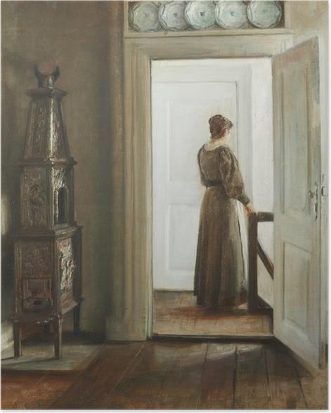 Plakat Carl Vilhelm Holsøe - Wnętrze z kobietą - Reproductions