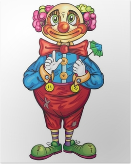 Plakat Cartoon Zabawna Klaun na białym tle