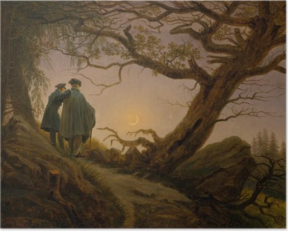 Plakat Caspar David Friedrich - Dwaj mężczyźni kontemplujący księżyc - Reproductions