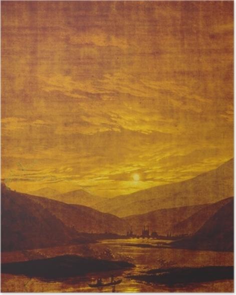 Plakat Caspar David Friedrich - Górski pejzaż z rzeką - Reproductions