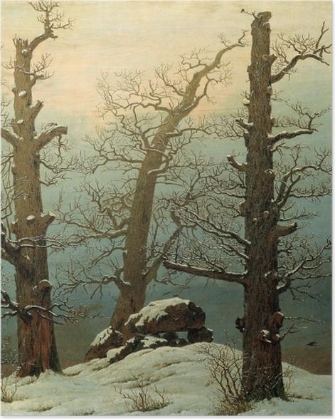 Plakat Caspar David Friedrich - Kurhan pod śniegiem - Reproductions