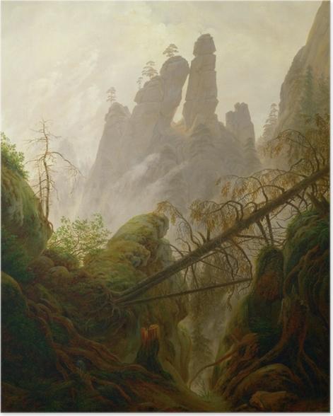 Plakat Caspar David Friedrich - Skalisty wąwóz w Górach Połabskich - Reproductions