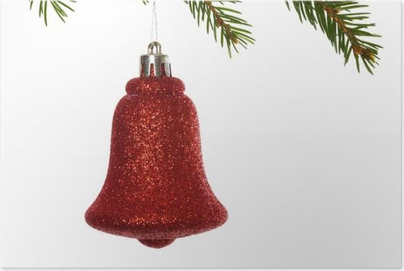 Plakát Červená vánoční dekorace visí z větve - Mezinárodní svátky