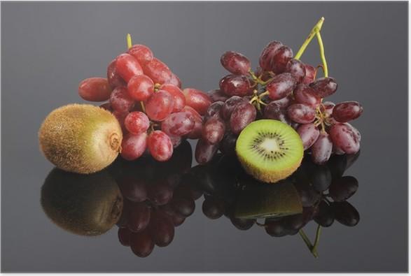 Plakát Červené hrozny a kiwi - Zelenina