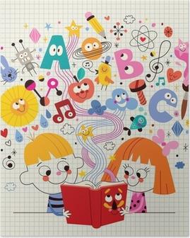 c2b5a2fa3d1c1b Plakat Chłopiec i dziewczynka czytanie książki edukacji koncepcji ilustracji