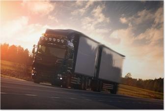 Plakat Ciężarówka na autostradzie kraju