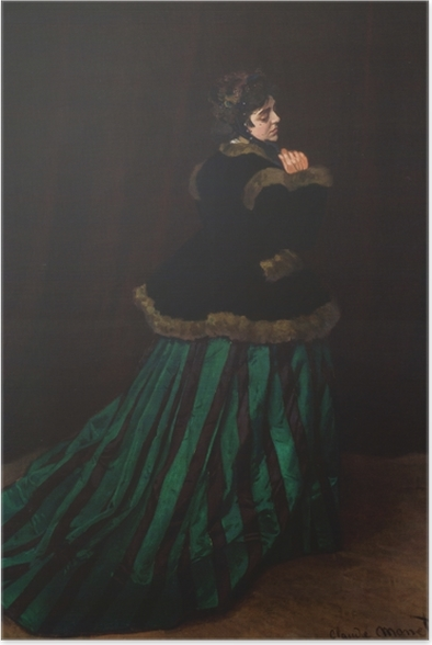 Plakat Claude Monet - Camille. Kobieta w zielonej sukni. - Reprodukcje